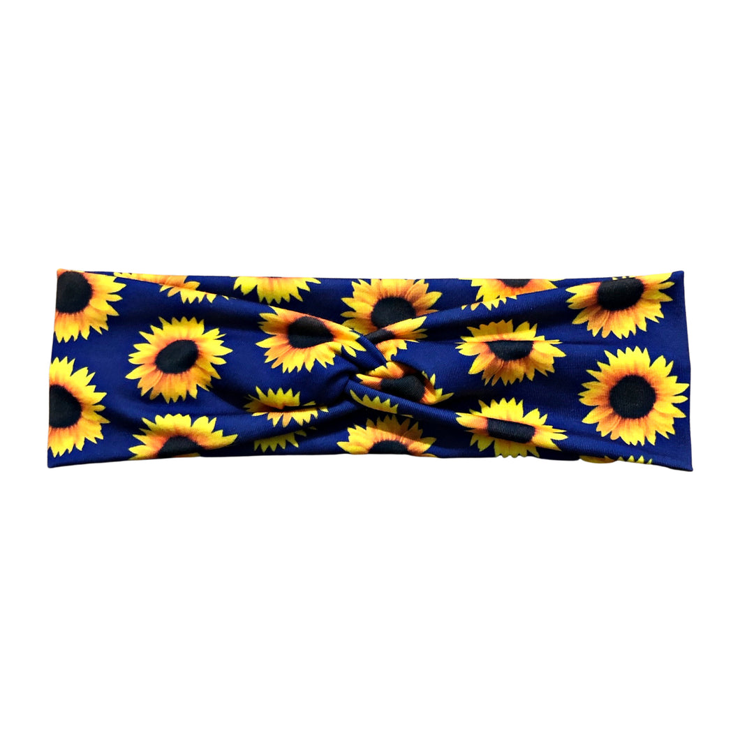 Navy Blue Sunflower Knot Fabric Headband