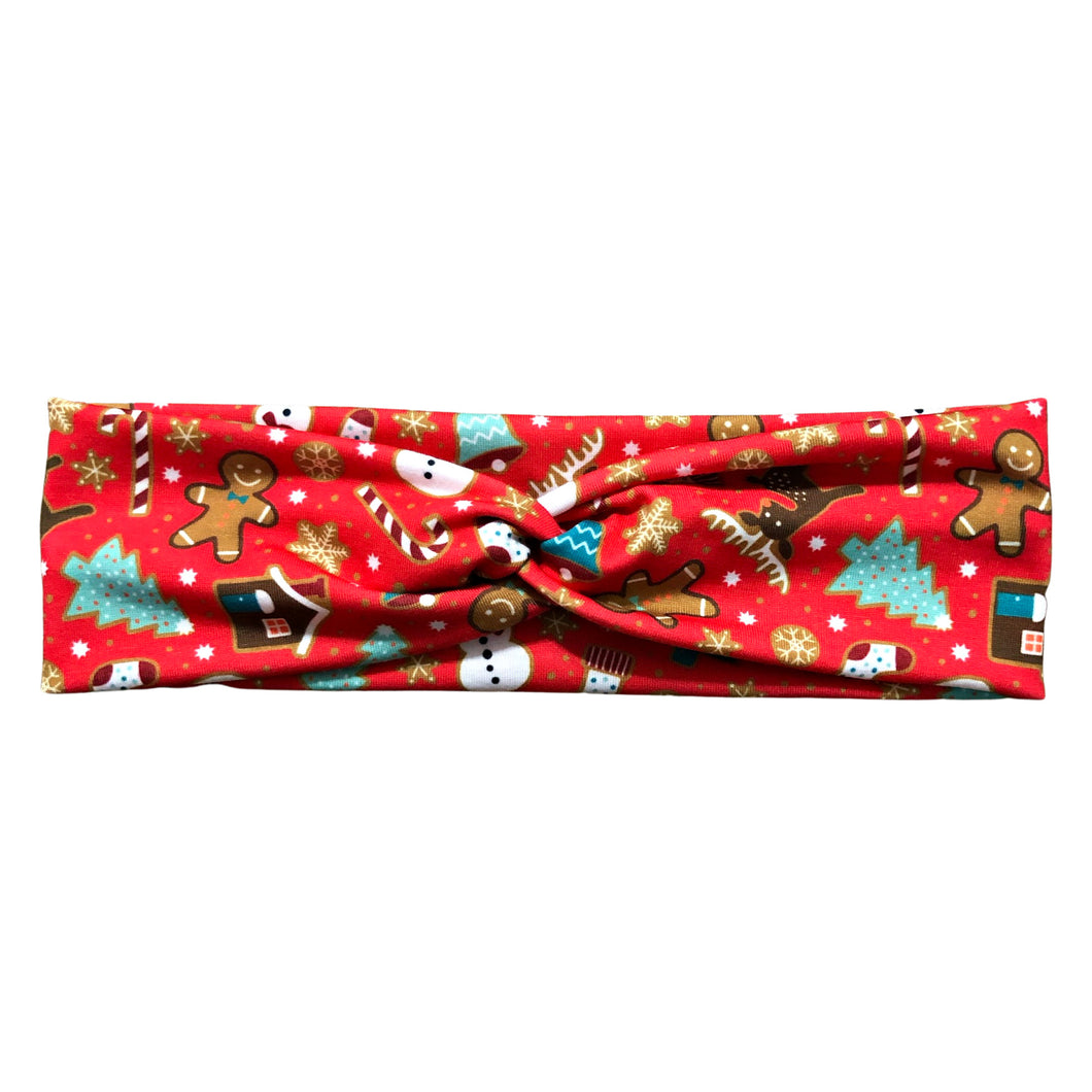 Red Christmas Knot Fabric Headband