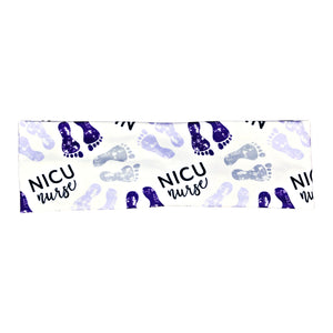 NICU Nurse Baby Footprints Headband - Purple