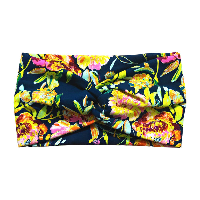 Women's Wide Navy Neon Flowers Headband