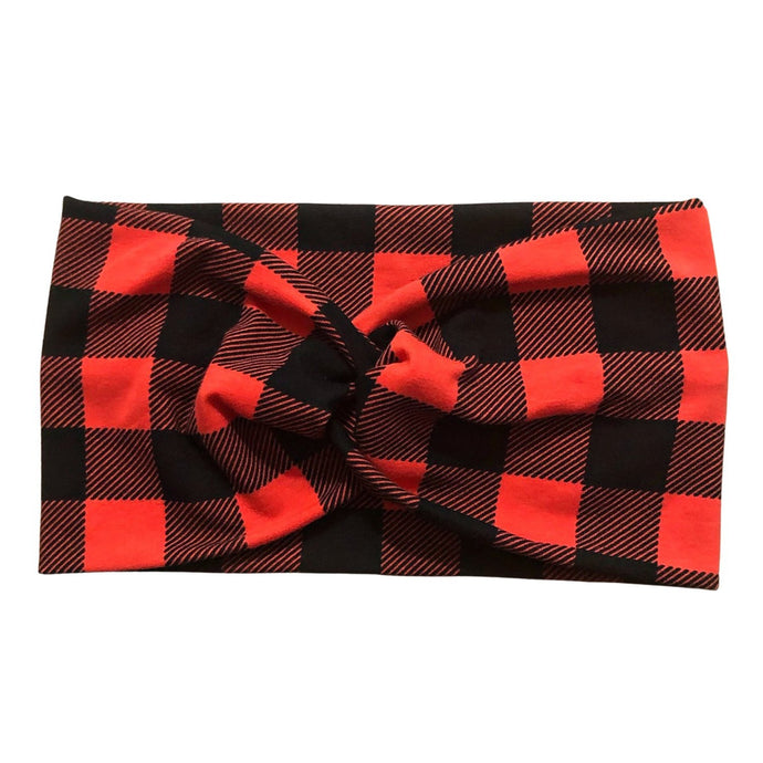 Women's Wide Buffalo Plaid Fabric Headband, Ear Warmer Winter Headband, Red and Black