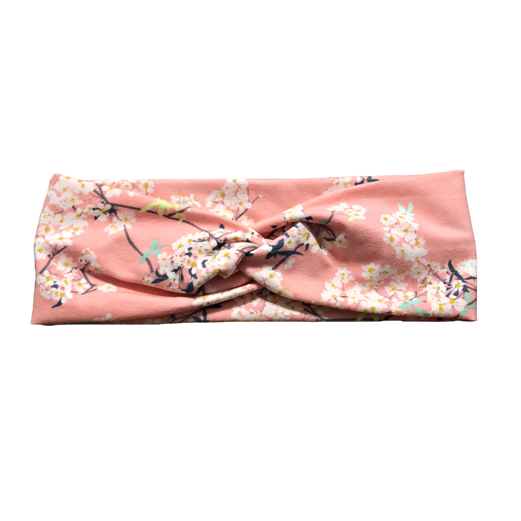 Pink Floral Branches Fabric Headband