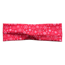Christmas Snowflakes Winter Knot Fabric Headband - Red