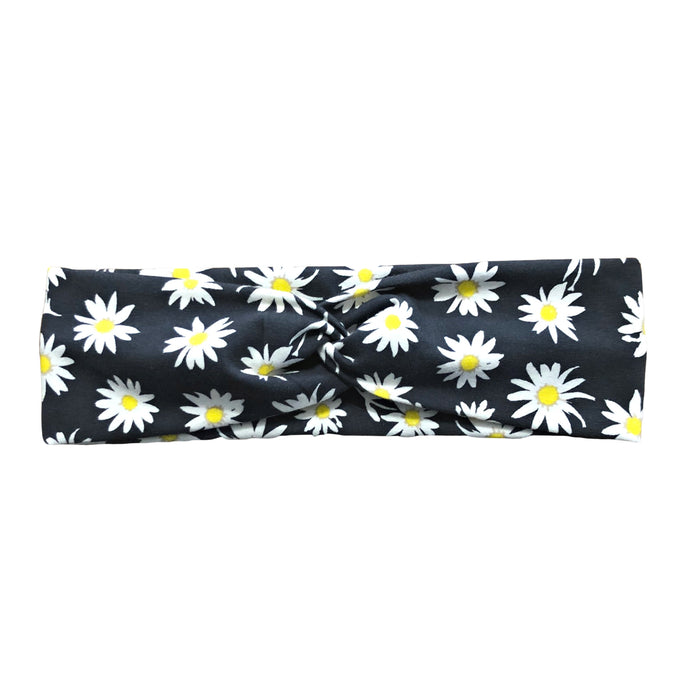 Charcoal Daisy Twist Fabric Headband with Buttons for Masks
