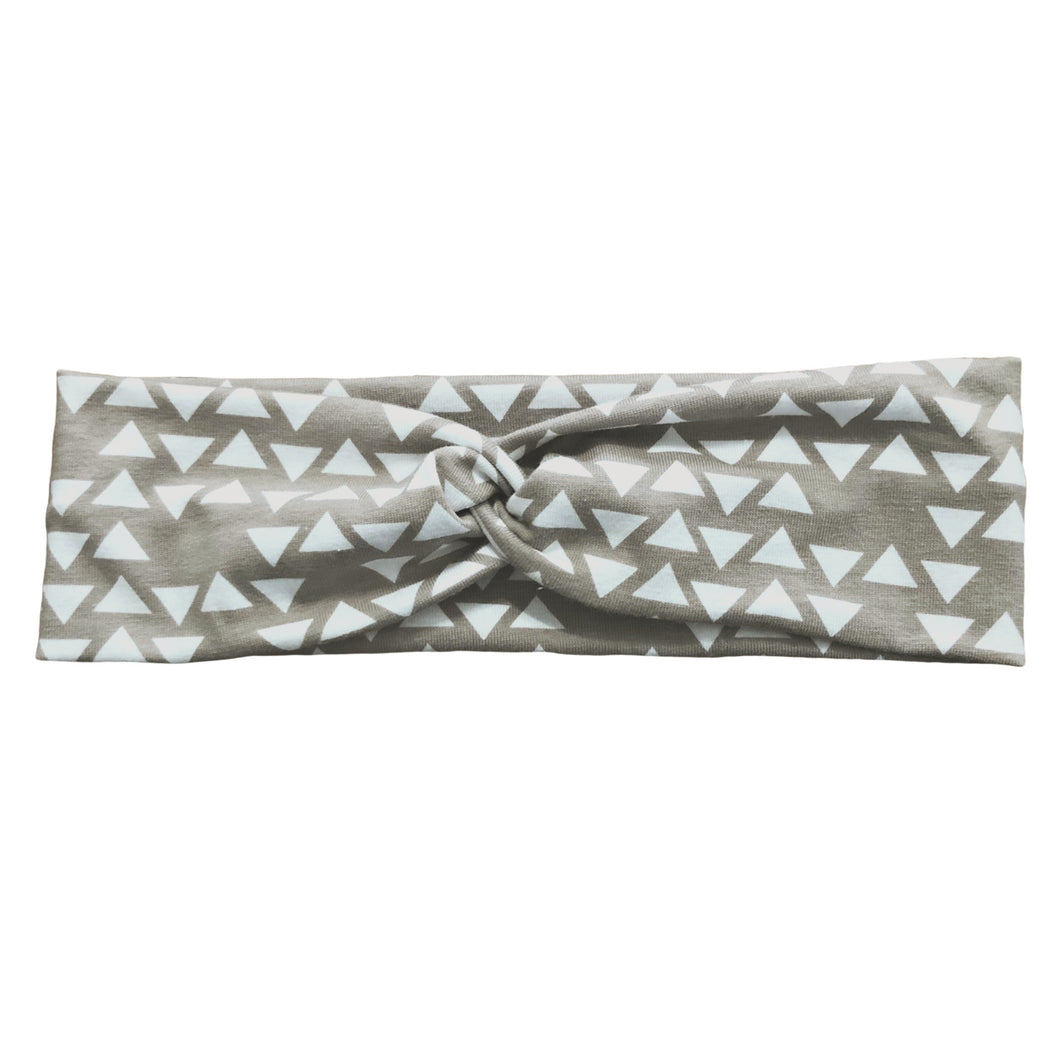 Taupe Gray & White Geometric Triangle Fabric Headband with Buttons