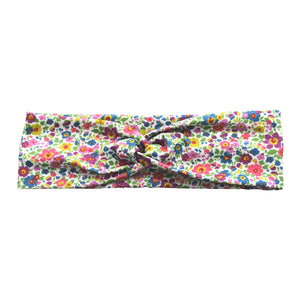 White Colorful Flowers Jersey Knit Headband