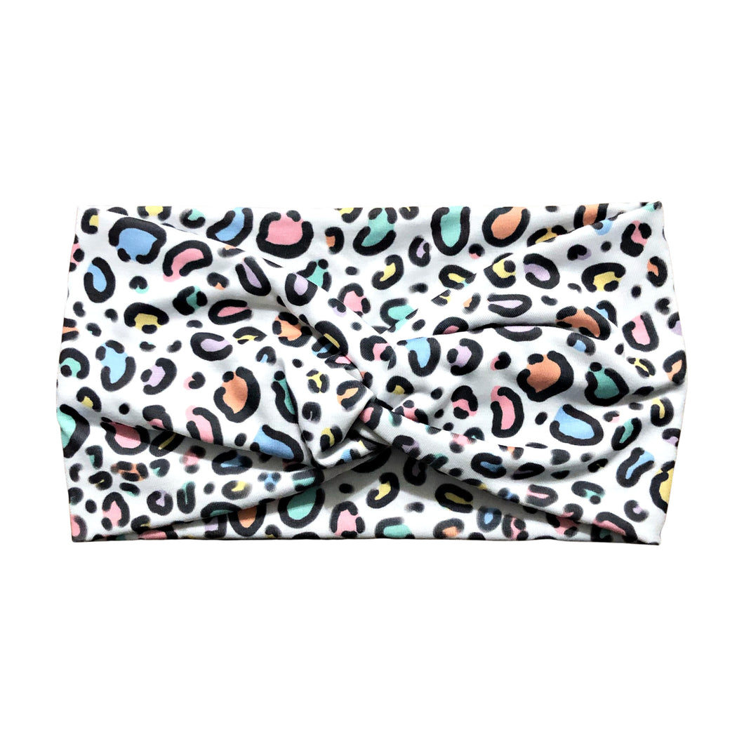 Wide Pastel Rainbow Leopard Print Fabric Headband Wrap