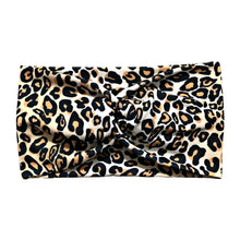 Wide Black Brown White Leopard Print Fabric Headband Wrap