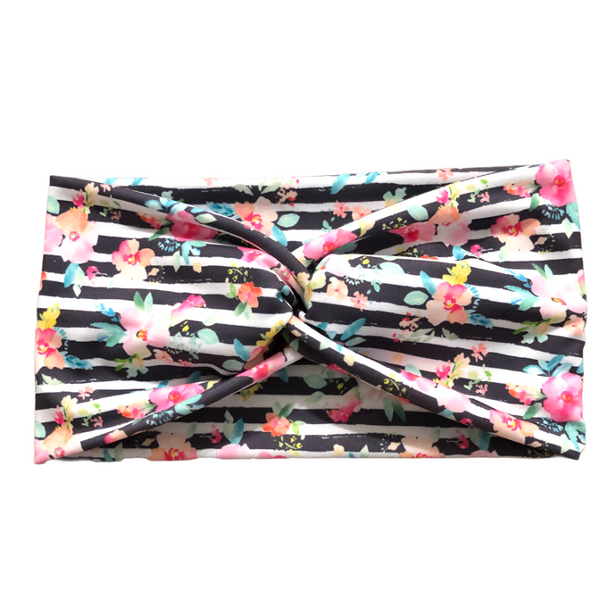 Women's Wide Boho Flower Fabric Headband, Abstract Stripes and Flowers - Light Gray