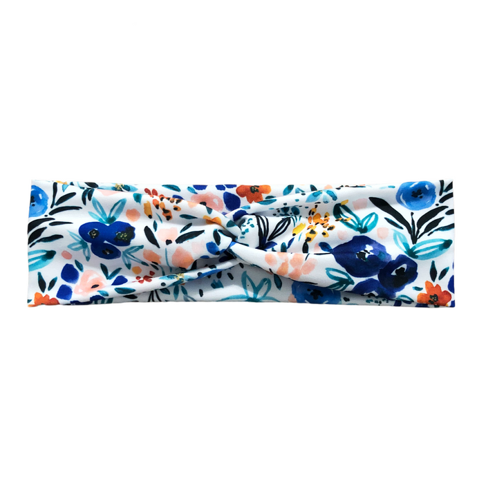 Women's Abstract Flower Headband - Blue Peach White Black