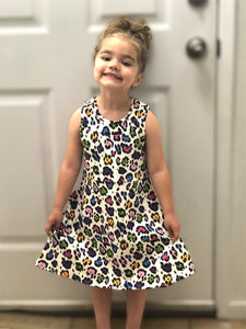 Girl's Leopard Print Swing Tank Dress - Rainbow