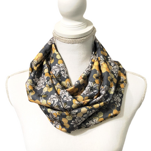 Women's Silky Honey Bee Infinity Scarf, Gray and Yellow Circle Scarf