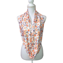 Peach Flower Boho Infinity Scarf for Women, White Orange Floral Long Circle Scarf