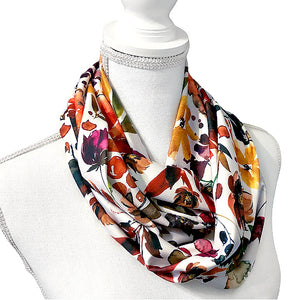 Boho Infinity Scarf for Women, Fall Floral Long Jersey Knit Circle Scarf