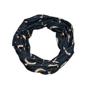 Boho Moon Infinity Scarf for Women, Cosmic Star Loop Scarf