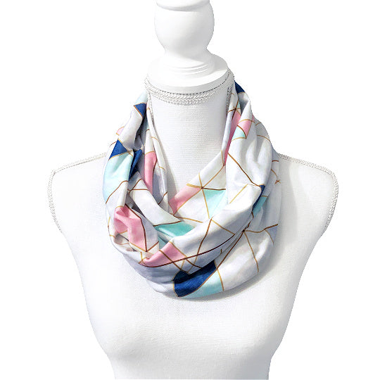 Abstract Boho Infinity Scarf for Women, Geometric Color Block Triangle Print Circle Scarf