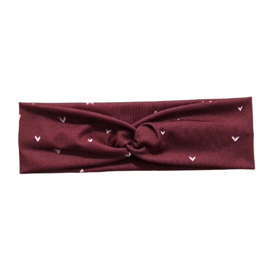 Valentine's Day Burgundy Heart Headband