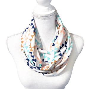 Women's Abstract Boho Infinity Scarf, Geometric Print Long Circle Scarf, Peach, Mint, Navy, Gold