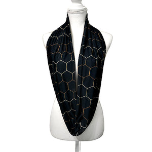 Women's Boho Honeycomb Infinity Scarf, Black and Gold Hex Long Jersey Scarf