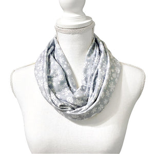 Women's Gray Snowflake Infinity Scarf, White Christmas, Jersey Knit Circle Scarf