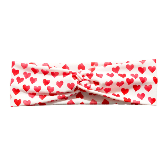 Valentine Watercolor Hearts Knot Headband