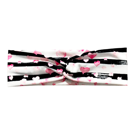 Women's Valentine's Day Heart Headband, Abstract Stripes Watercolor