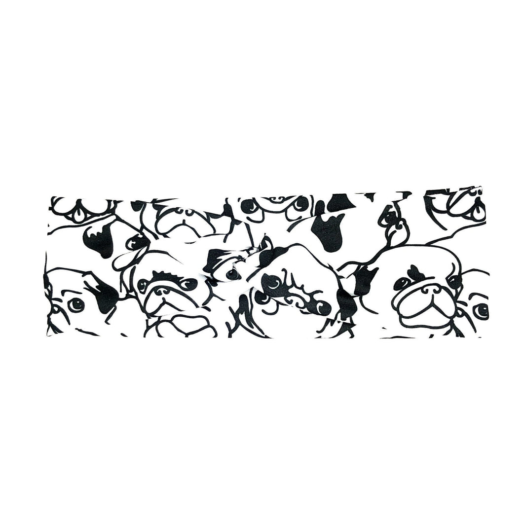 Pug Expressions Black and White Fabric Headband