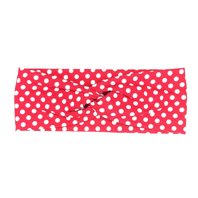Red and White Polka Dot Fabric Headband with Buttons