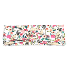 Women's Floral and Pugs Fabric Headband