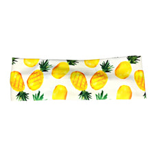 White Summer Pineapple Fabric Headband with Buttons