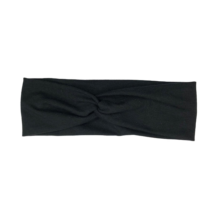 Solid Black Jersey Knit Fabric Headband with Buttons