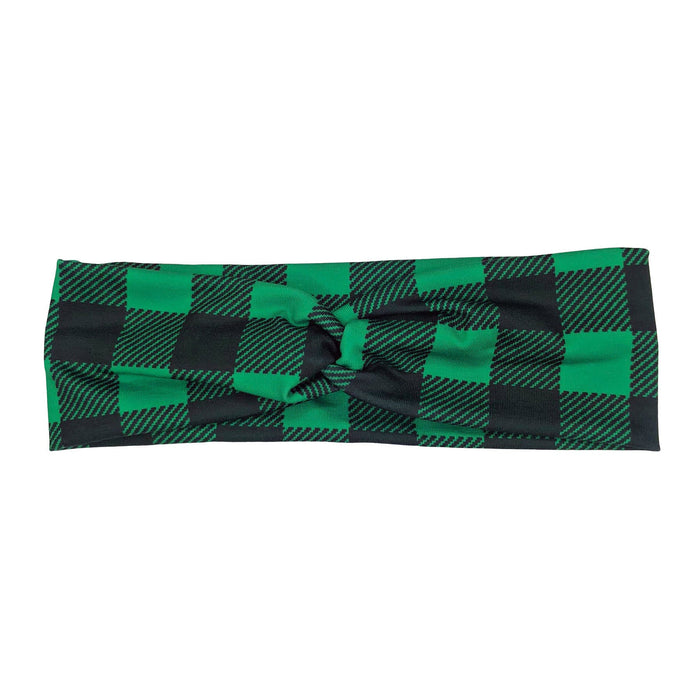 Green and Black Plaid Fabric Headband with Buttons