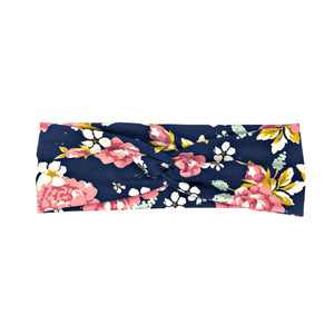 Navy Blue Vintage Floral Fabric Headband with Buttons - Golden Days