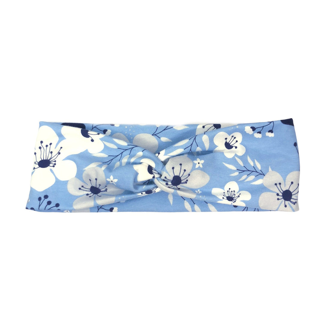 Light Blue, Gray and White Floral Fabric Headband with Buttons - Something Borrowed