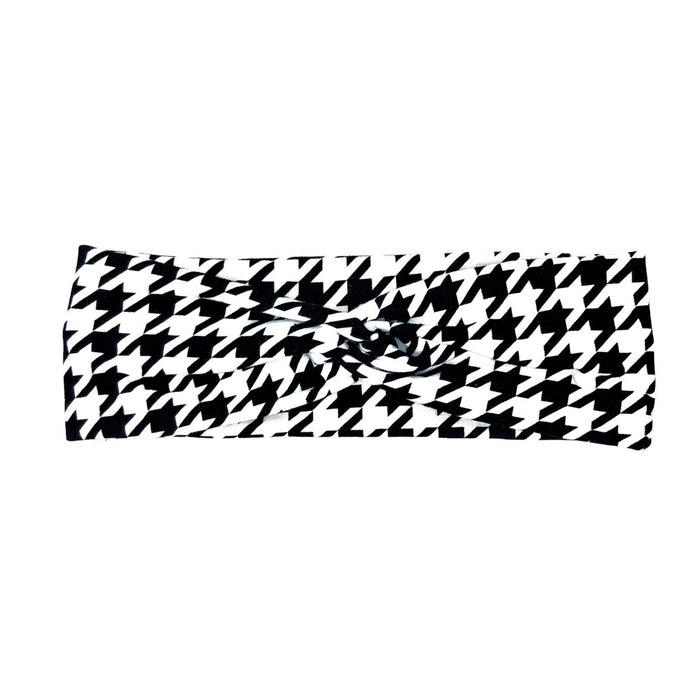 Houndstooth Fabric Headband with Buttons, Black & White