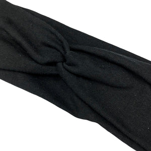 Solid Black Jersey Knit Fabric Headband