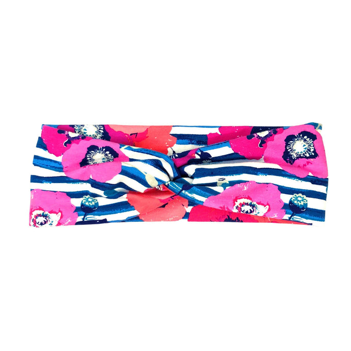 Navy, White and Pink Stripe Floral Fabric Headband