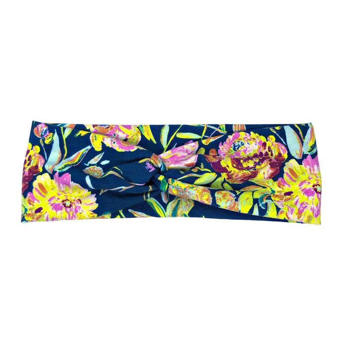 Neon Navy Boho Floral Fabric Headband with Buttons