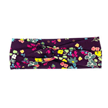 Dark Purple Boho Flower Fabric Headband