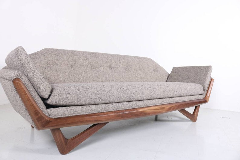 Fabulous Mid Century Modern Gondola Walnut Trim Sofa Pdpeps Interior Chair Design Pdpepsorg