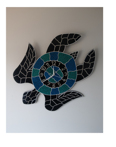 Indigenous Turtle Clock - Turquoise Green Dot
