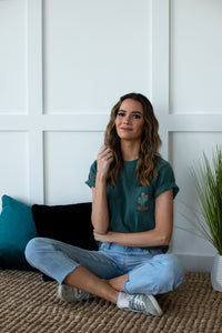 Arizona Embroidered Pocket Tee - Forrest Green - Shop Back Home