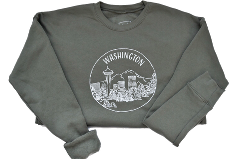 Washington - Military Green Sweatshirt - Unisex - Shop Back Home