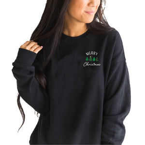 Merry Christmas Embroidered Sweatshirt - Shop Back Home