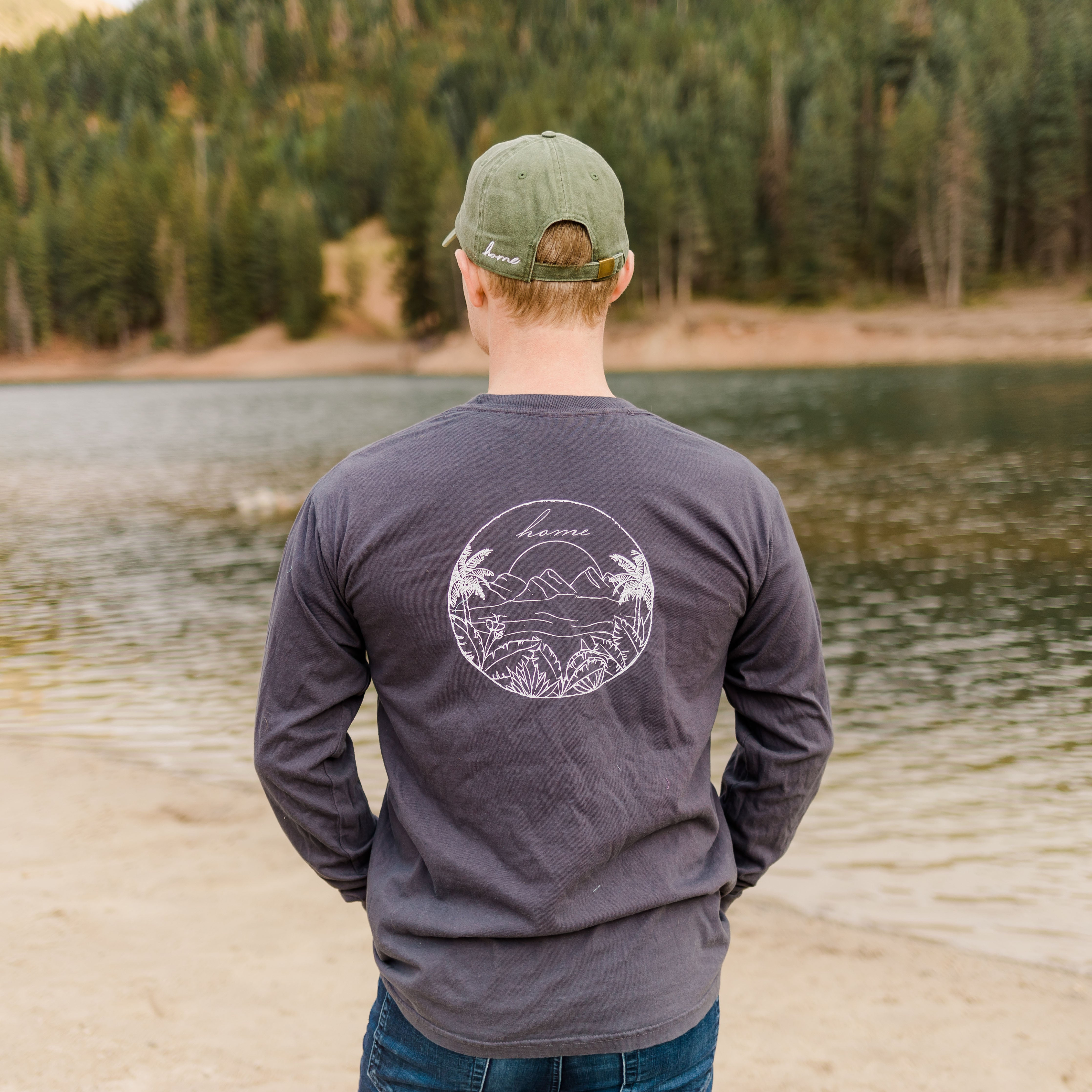 Beach Long Sleeve T-Shirt - Charcoal - Shop Back Home