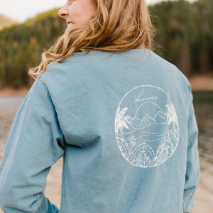 Beach Long Sleeve T-Shirt - Sky Blue - Shop Back Home