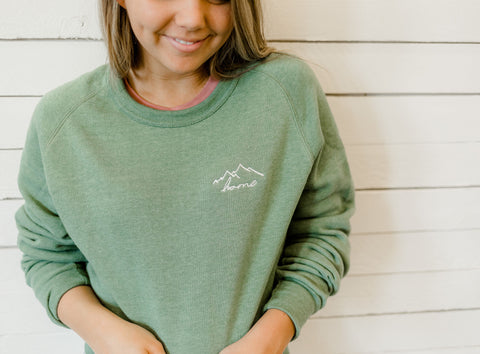 Home Embroidered Crew Neck