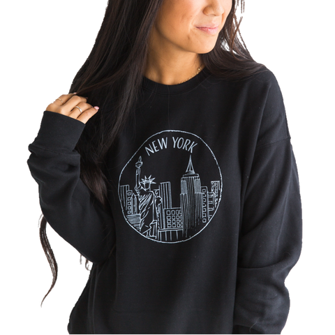 New York Sweatshirt - Black - Unisex - Shop Back Home