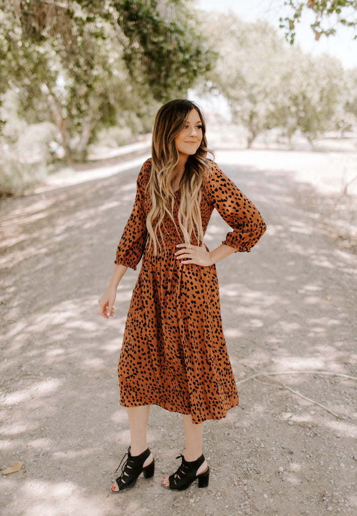 Leopard Midi in Brown