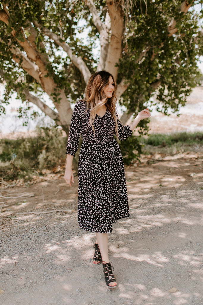 Leopard Midi in Black